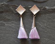 Violet tassel earrings Textured silver post earrings Lilac Tassel Jewelry Boho Chic Earrings Bohemian jewelry for women 1142-8 by StudioDjewelry