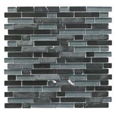 Colours Black Glass & Stone Mosaic Tile (W)308mm (L)300mm: Image 1