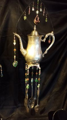 Wind Chime - Silver Plated Tea Pot - Green, Maroon, and White Glass Beads on Etsy, $72.00