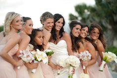 Gorgeous maids in #blush | Florida Wedding at Hammock Beach Resort from Liga Photography  Read more - http://www.stylemepretty.com/florida-weddings/2013/08/12/florida-wedding-at-hammock-beach-resort-from-liga-photography/