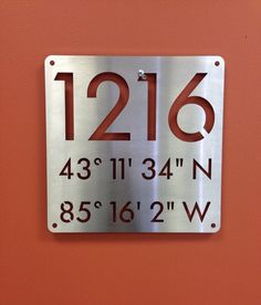 """Address Sign with Nautical Coordinates! Custom House Address Numbers and Navigational Coordinates Stainless Steel 12x12"""" on Etsy, $95.00"""