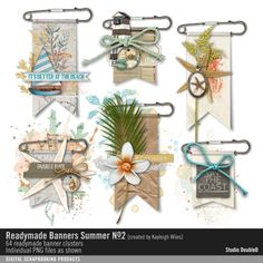 Readymade Banners: Summer No. 02 vintage beachy element clusters on pinned…