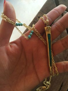 A personal favorite from my Etsy shop https://www.etsy.com/listing/468906809/long-turquoise-spike-necklace-big-spike