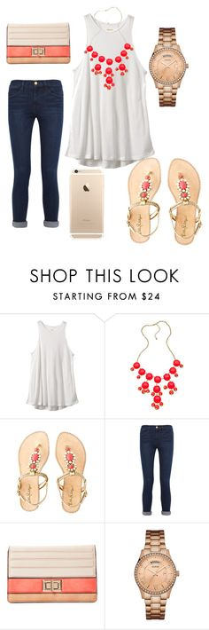 """""""Coral, white, and Gold"""" by polkadotgirl321 ❤ liked on Polyvore featuring RVCA, Blu Bijoux, Lilly Pulitzer, Frame Denim, Melie Bianco and GUESS"""