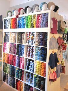 Wool Shop, Yarn Shop, Yarn Storage, Craft Storage, Space Crafts, Home Crafts, Yarn Display, Art Studio Room, Charlevoix