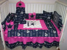 Crib bedding nursery set made/w pink dallas cowboys *double batting* so cute Dallas Cowboys Nursery, Dallas Cowboys Football, Cowboy Nursery, Girl Nursery, Cowboy Baby, Nursery Ideas, Crib Sets, Crib Bedding Sets, How Bout Them Cowboys