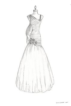 Custom Wedding Dress Illustration. Bridal Gown by LaceandMint