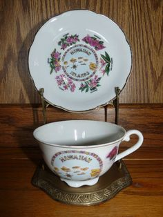 Vintage Porcelain Hawaii Souvenir Cup and Saucer with Brass Display Stand