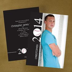 """Baseball Memories Graduation Announcement Capture your love for baseball on this theme-inspired announcement.  Dimensions: 5 1/2"""" x 7 3/4"""" Card• Price Includes: Blank, single bright white envelopes • Production Time: 3 Working Days • Photo(s) will be printed as submitted • Layout and background available only as shown"""
