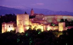 View of the Alhambra in Granada, Spain at night.  It really does look like this!  The inside is gorgeous.