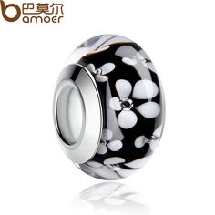2016 Popular Top Quality Silver Plated Black Flower Murano Glass Beads For…