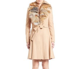 Alice and Olivia Nikita Fox-Fur Trimmed Coat ($1,495) ❤ liked on Polyvore featuring outerwear, coats, apparel & accessories, light camel, fox fur coat, fox coat, long sleeve coat, over coat and camel coat