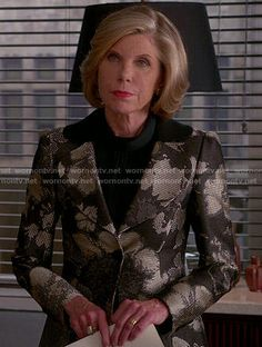 Diane's metallic floral jacket on The Good Wife.  Outfit Details: http://wornontv.net/53285/ #TheGoodWife