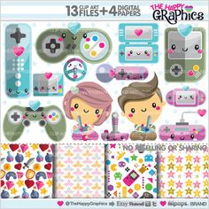 ★New listing! Video game graphics for COMMERCIAL USE - Kawaii cliparts