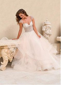 Buy discount Marvelous Tulle Sweetheart Neckline See-through Ball Gown Wedding Dresses with Beadings and Rhinestones at Dressilyme.com