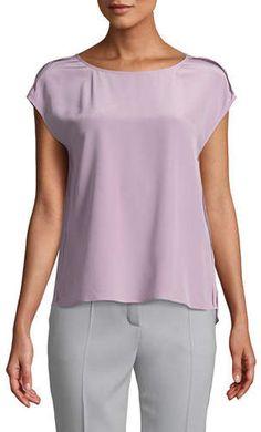 b8018db071d67 Escada Cap-Sleeve Round-Neck Silk Blouse w  Exposed Seams