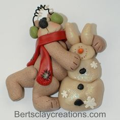 Some Bunny Loves Me Bear and Rabbit Snowman by BertsClayCreations, $8.50