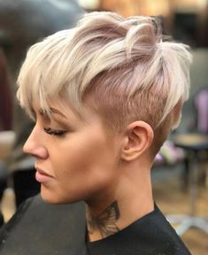 Blonde Uneven Undercut Pixie