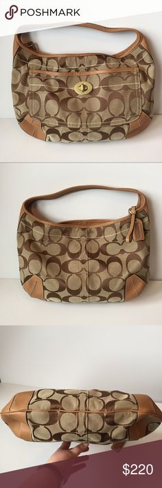 AUTH Large Coach tan monogram purse Large Coach tan monogram purse. Excellent condition outside and inside main part. Makeup and mark on inside small zipper pocket. Coach Bags Shoulder Bags
