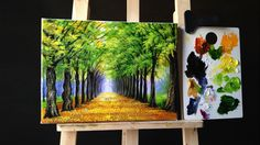Tree Lined Road Deciduous in Acrylics Painting Canvas Sizes, Acrylic Painting Trees, Watercolor Painting Techniques, Acrylic Painting For Beginners, Acrylic Painting Techniques, Acrylic Art, Painting & Drawing, Canvas Art, Painting Tricks
