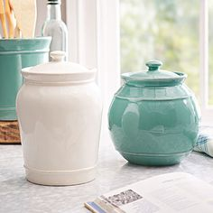 Ceramic jars can store pantry goods airtight or function as vases or colorful accents.
