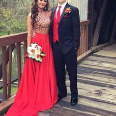Red Prom Dress, Beaded Prom Dress,Two Pieces Prom Dress,Fashion Prom Dress,Sexy Party Dress,Custom Made Evening Dress