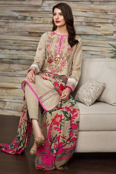 Unstitched 3piece Embroidered Khaddar dress (Size 8.15 meter dress) with wool Shawl