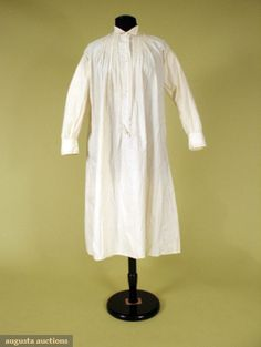 1880 Men's Nightshirt Probably for man, tabby cotton with whitework embroidered edgings, front buttoned placket opening, long button-cuff sleeves.