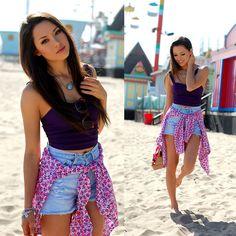 Windsor Store Purple Crop Top, Spikes And Seams Distressed High Waist Shorts, Gap Boyfriend Shirt