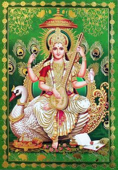 Goddess Saraswati sitting on Swan (via Dolls of India)