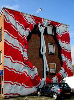 Wall paints, Muurschilderingen, Peintures Murales,Trompe-l'oeil, Graffiti, Murals, Street art.