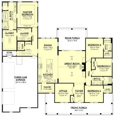 Plan Fresh 4 Bedroom Farmhouse Plan With Bonus Room Above 3 Car Garage - House Plans, Home Plan Designs, Floor Plans and Blueprints House Plans One Story, New House Plans, Dream House Plans, Story House, House Floor Plans, House Plans With Garage, 2200 Sq Ft House Plans, Round House Plans, Floor Plan 4 Bedroom