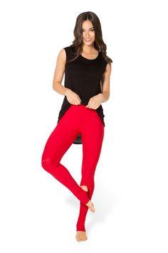 Matte Red Stirrup Leggings › Black Milk Clothing