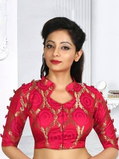 Latest Blouse Designs 2020 : Readymade Blouse for Saree and Lehenga - Reddish Pink Art Silk Blouse with Zari - Choli Designs, Lehenga Designs, Choli Blouse Design, Pattu Saree Blouse Designs, Kurta Neck Design, Fancy Blouse Designs, Designs For Dresses, Bridal Blouse Designs, Latest Blouse Designs