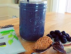 Coconut Blueberry Chia Smoothie packed with plant-based nutrients! #bestsmoothie #vegasmoothie