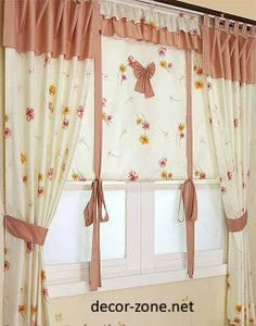 modern kitchen curtain ideas in brown color