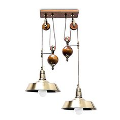 Hanging Lamp With Pulley Brass LOOK Industrial Style Hallway Pendant
