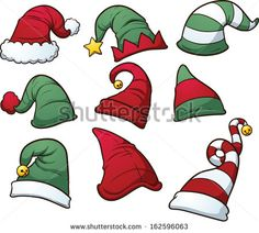Illustration of Christmas hats clip art vector art, clipart and stock vectors. Christmas Rock, Christmas Design, Christmas Crafts, Christmas Cartoons, Christmas Clipart, Christmas Templates, Christmas Printables, Hat Vector, Illustration Noel