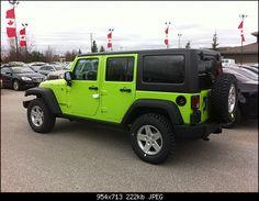 lime green jeep and I LOVE mine!