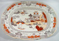 "HUGE 20"" Antique Mason's Patent PEKING JAPAN Turkey Meat Platter Chinoiserie #Masons"