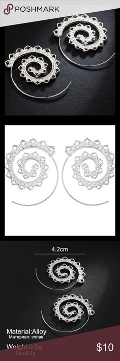 Silver Boho Swirl Earrings Lovely boho style earrings in swirl pattern, silver plated zinc alloy, measurements in pic 3, includes rubber backs to hold them in place. Also available in gold in separate listing. Perfect boho / festival style! ❤️💕❣️                                                                                                  🛑 PRICE IS FIRM!!! 🛑                                                                        💟 Bundle for 15% off 2+ items 💟 Jewelry Earrings