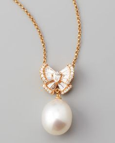 Assael Peach Pearl Bow Necklace