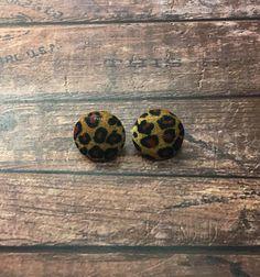 Leopard Print Button Earrings Handmade Pierced by OnlyYoursJewelry