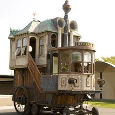 This Berkeley, CA whimsical take on the mobile home was built by a few DIY-minded fans of steampunk design. Calling themselves the Neverwas Project, the group of tinkerers created this self-propelled, 3-story Victorian house out of 75-percent recycled materials.   thisoldhouse.com