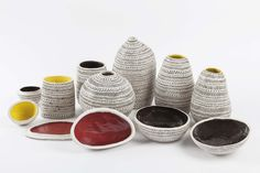 Skep Stack Vase by Atelier KAS for Shop with global insured delivery at Pamono. Metal Vase, Wooden Crates, White Clay, Creative Industries, Cut And Color, Basket Weaving, Contemporary Design, Tea Lights, Stoneware