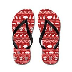 California Christmas Flip Flops