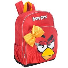 Angry Birds 16 inch She Bird Backpack - Red and Black by Accessory Innovations. $16.99. Dimensions: 16 x 12 x 5 inches. Angry Birds 16 inch She Bird Backpack - Red and Black. Padded back and adjustable straps offer comfy carrying. Ideal for storing school supplies. Durable fabric and lining hold up for extended use. Red and black bag features a Red Bird graphic accented with a satiny 3D bow; metallic silver piping is also displayed. Includes a large zip compartment and fron...
