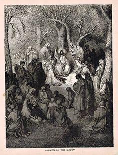 Gustave Dore's Illustration - SERMON ON THE MOUNT - Woodcut - c1880