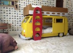 NASCAR DRIVER Jeff Gordon and Ingrid Vandebosh's picture of their son's bed made by Fun Furniture Collection, Home of  Luxury Handmade Theme Childrens Beds,Toy Boxes and Storage