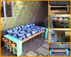 DIY Cinder Block Outdoor Bench. This site has a ton of awesome ideas for DIY furniture and whatnot.